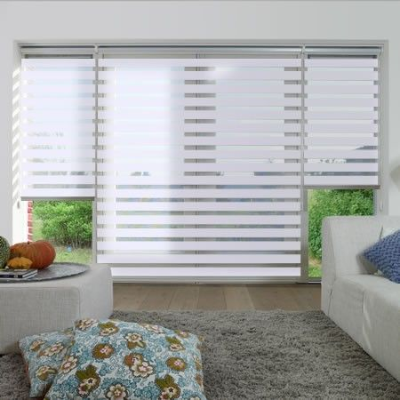 Origin, White - Day Night Blind see through in the day privacy in the night - www.247blinds.co.uk