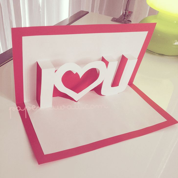 Pop up Valentines Card template I ♥ U   Paper Kawaii   valentines 2 tutorials templates paper craft free downloads ,valentines day template popup pop up letter envelope card