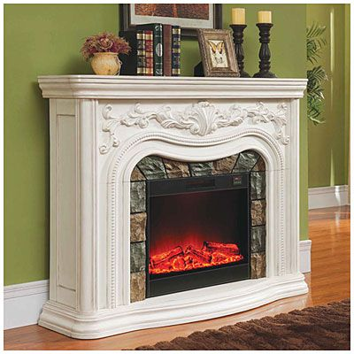 62 Quot Grand White Electric Fireplace At Big Lots