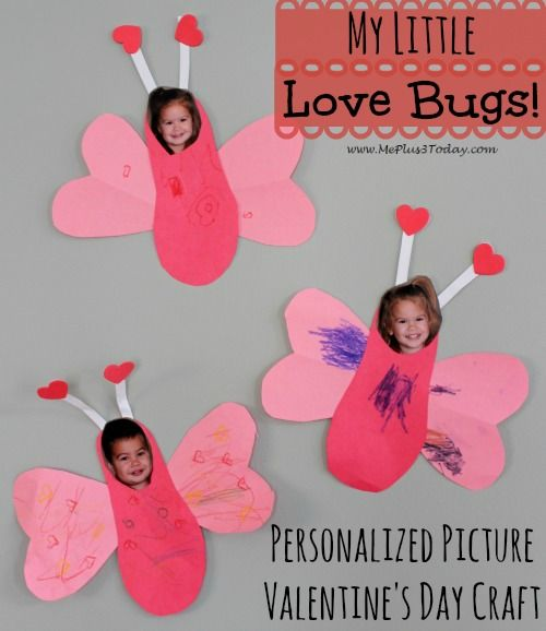 My Little Love Bugs - Personalized Picture Valentine's Day Craft - These would make a cute gift for grandparents. Kids could make them at daycare or school to send home to parents too! - www.MePlus3Today.com