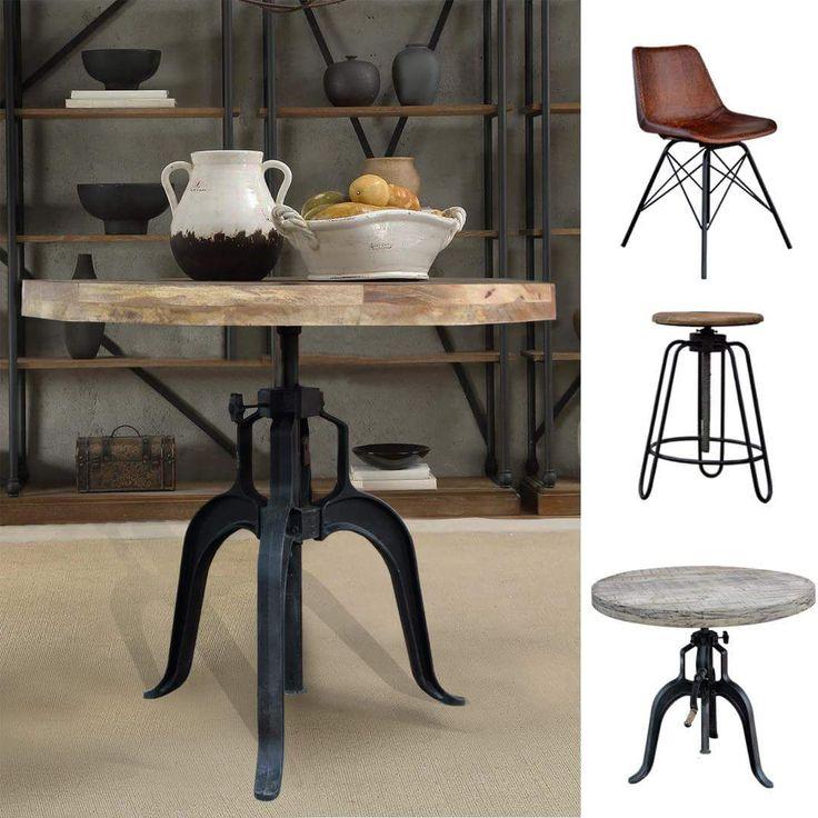 Okrągły stół na metalowej nodze to klasyka loftowe stylu jest dostępny w dwóch wersja wykończenia. Idealny do jadalni lub do kuchni oraz salon aneksem.  Dzięki regulowanej wysokości blatu dostosujesz go do własnych potrzeb do bar. Stół i krzesła znajdziecie w meble loftowe i industrialne.