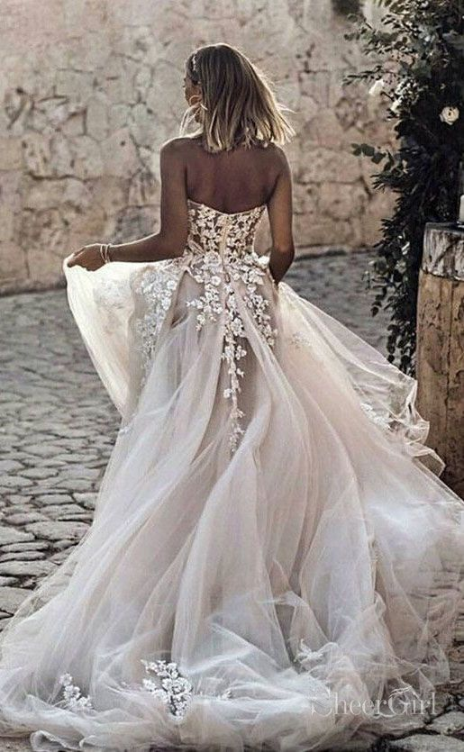 Ivory Sweetheart Neck Long Wedding Dresses Bohowedding