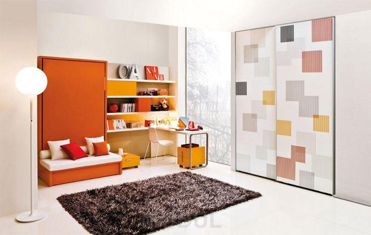 Спальня для подростка мандаринового цвета Clei04