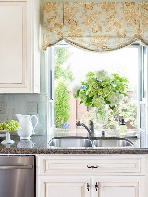A Valance Adds Color To A Charming Kitchen Windowu2026. Window Treatment Style  I Want For This House The Most. Suits Introducing Color In A Subtle, ...