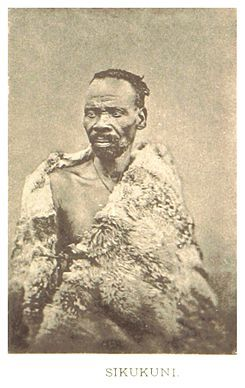 Sekukuni or Matsebe Sekhukhune, (1814–1882), the son of King Sekwati, was king of the Bapedi (or Marota) of Sekukuniland currently known as Phokwane village, in the present day Limpopo Province of South Africa. He became king upon his father's death in September 1861, married Legoadi IV in 1862 and lived at a mountain, now known as Thaba Ya Leolo,[1] which he fortified.