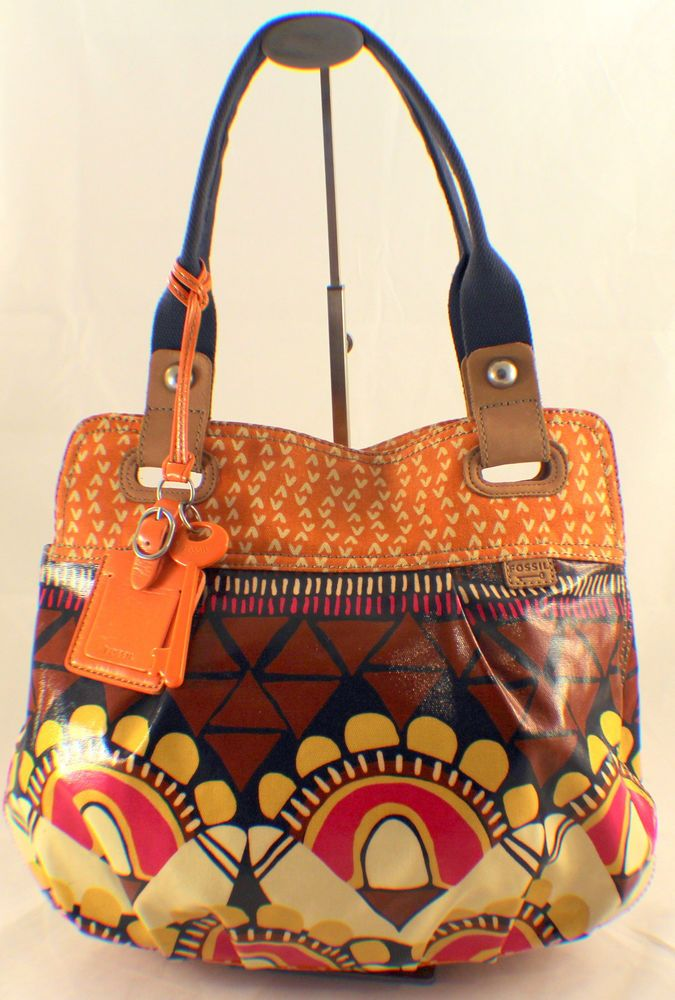 Fossil Key Per Large Coated Canvas Handbag Shoulder Bag Shopper Tote $125.00