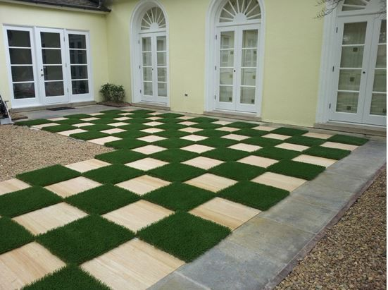 17 best images about grass between pavers on pinterest for Checkerboard garden designs