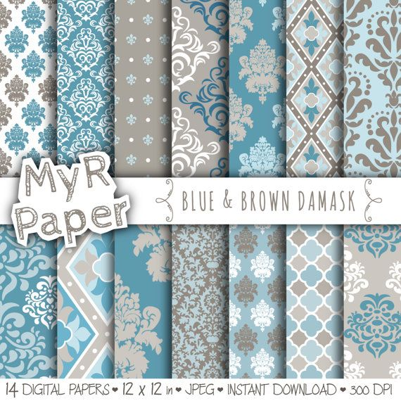 """With #love by @myrpaper in @etsy #pattern #design #graphic #paperdesign #papercraft #scrapbooking #digitalpaper damask digital paper: """"BLUE & BROWN DAMASK"""" with #damask backgrounds and patterns for scrapbooking  Hello And Welcome To My Shop  These digital papers will be useful in any ..."""