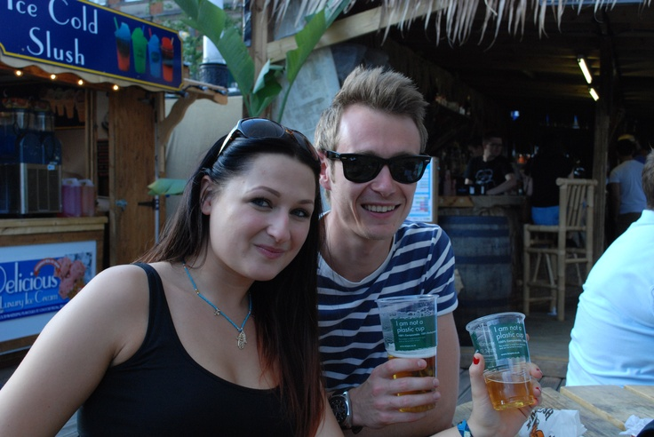 Biopac's eco friendly 'I am not a plastic cup' PLA tumblers at the Kahuna Beach Bar in Nottingham.