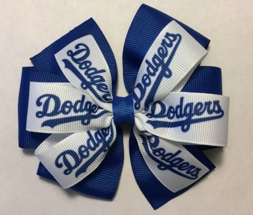 Los Angeles Dodgers Baseball Inspired Hair Bow Dodgers Ribbon Barrette Clip