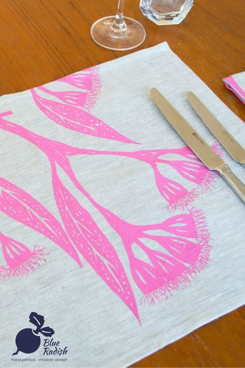 100% linen placemats. Hand printed Gum Blossom design in pink ink onto natural coloured linen. Available as a set of 4.