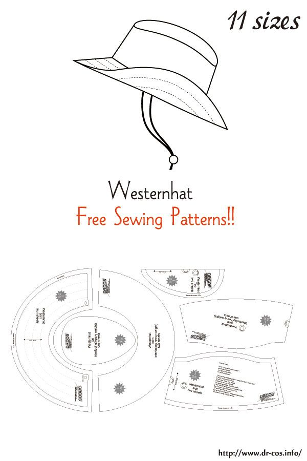 This Is The Pattern Of A Westernhat Inch Size Letter Size 5 1 2 5 3 4 6 6 1 4 6 1 2 6 3 4 7 7 1 4 7 Sewing Patterns Sewing Doll Clothes Hat Patterns To Sew