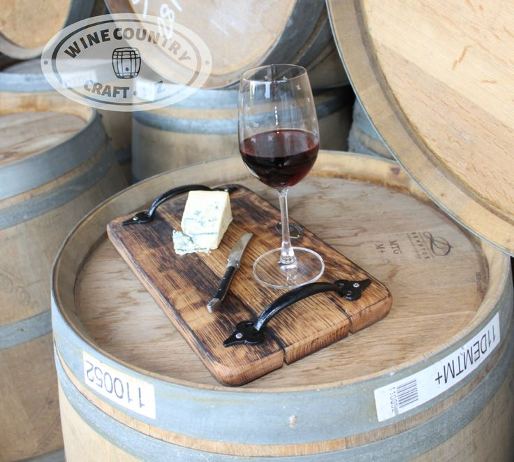 Small size wine barrel platter. When the guests have arrived and you're looking for a nice serving tray for your cheese and snacks, this is the one you want. The perfect size for a quick spread of cheese and crackers.