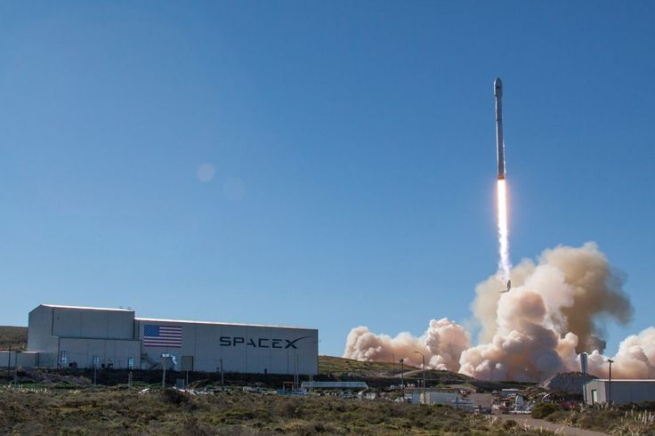 The Falcon 9 rocket takes of from Vandenberg Air Force Base, California