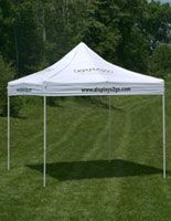 10 x 10 Outdoor Canopy Tent with 8 Custom Imprints, Pop-up, Square - White