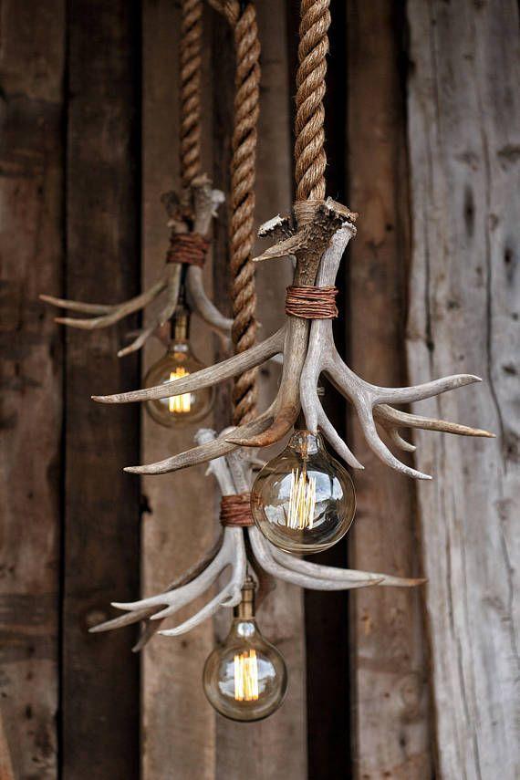 De cabine Lit kroonluchter - Antler werpen hanger Rope Light - opknoping plafond Accent verlichting - rustieke industriële herten meubilair