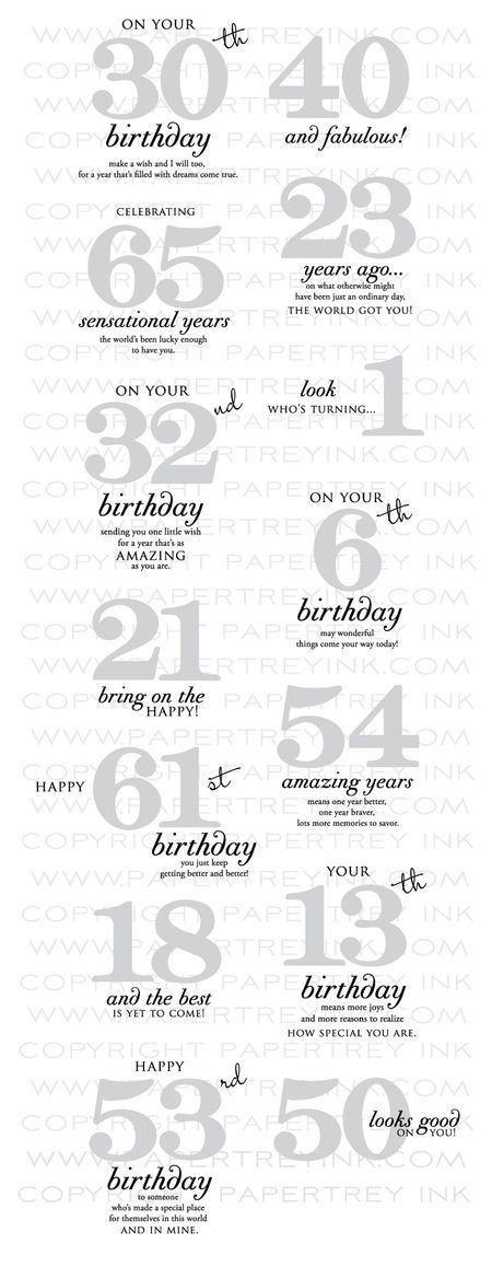 Examples showing Papertreyink Big Birthday Wishes stamp set combined with By the Numbers die set