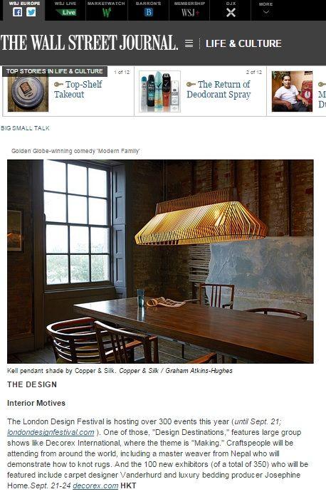 Decorex International 2014 - Copper & Silk Oast Pendant - Wall Street Journal 19/9/14