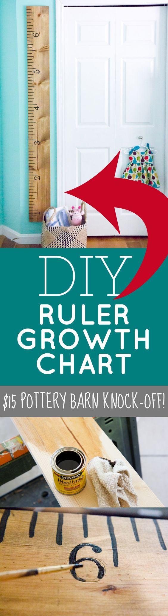 DIY Ruler Growth Chart: a frugal DIY $15 Pottery Barn Knock Off Craft!