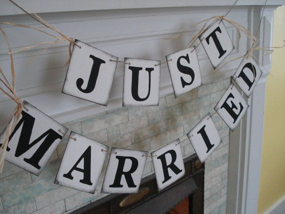 Rustic JUST MARRIED Car Sign Wedding Reception Decorations Wedding Garland Photo Prop Great for the Back of Your Car on Etsy, $24.00