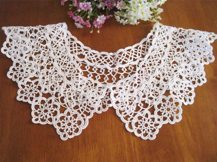 Vintage-Style-Hand-Tatting-Lace-Cotton-Collar-White