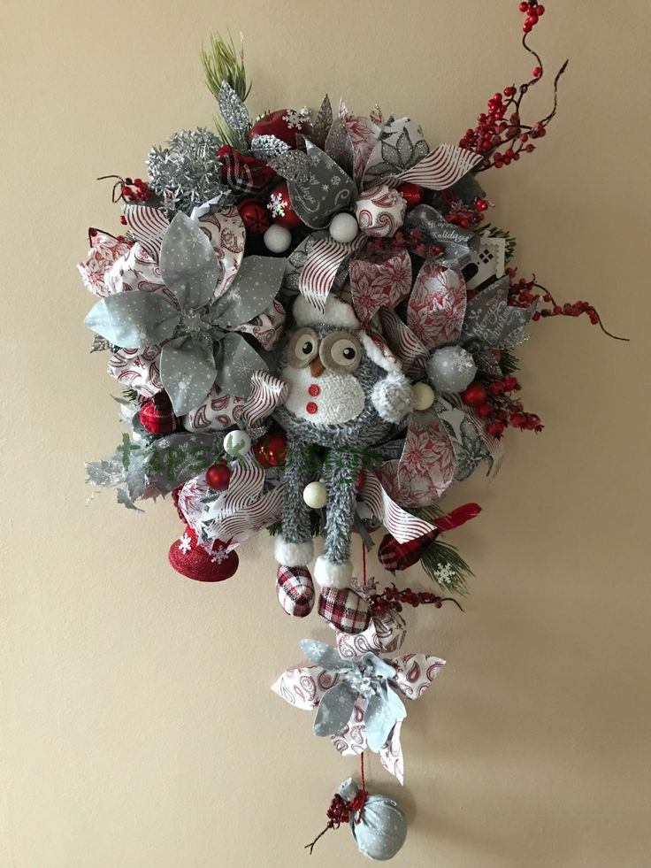 Christmas wreath - Owl. Base evergreen wreath. Full of ribbon strips and handmade decorations. Such as handmade poinsettias and christmas balls. Next are different christmas decorations such as mouse, wooden house, red berries, christmas ornaments, snowflakes and many more. This is really one of a kind wreath. Around up to 50 cm. The inspiration of this wreath was the owl. This wreath is for inside use only.