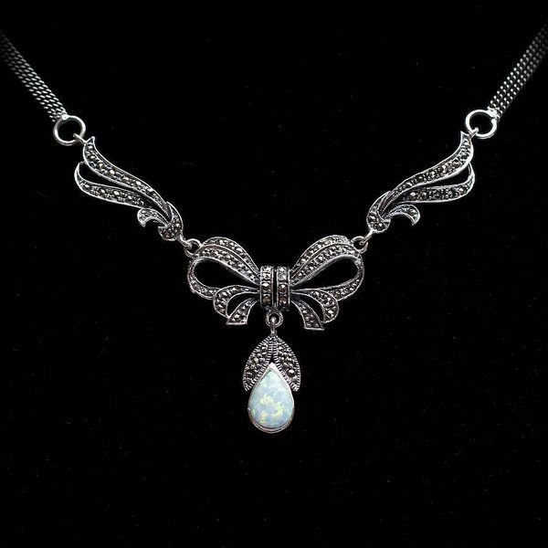Bloom Boutique Sterling Silver Marcasite And Opal Necklace ($105) ❤ liked on Polyvore featuring jewelry, necklaces, opal necklace, vintage jewellery, victorian jewelry, vintage jewelry и vintage sterling silver jewelry