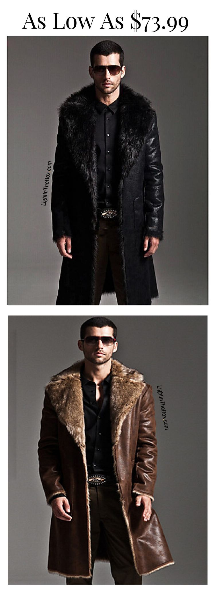 Who says men don't like fur?  Check out this fancy chic fur collar leather men coat. Which colour do you like most - black or brown? Click to shop at $73.99.