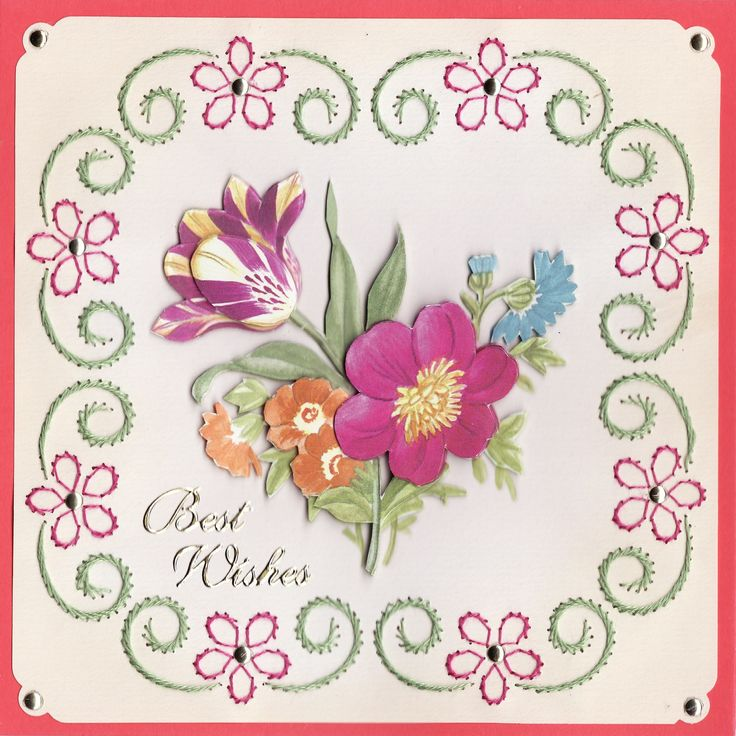 3D 'Best Wishes' Card with embroidery