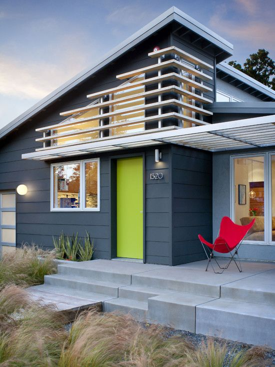 Lime door - looks great as a pop of color on the color scheme of this house!: The Doors, Green Doors, Modern Exterior, House Color, Exterior Color, Front Doors, Curb Appeal, Clouds Street, Exterior Paintings Color