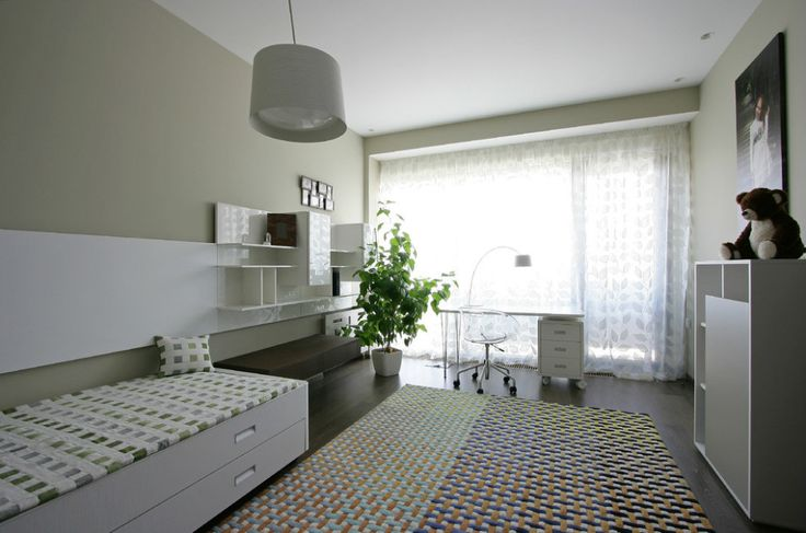 Apartments:Awesome Modern Apartment Bedroom With Modern Bed With Storage Also Cute Teddy Bear On Shalves Plant In Pot Arch Lamp With Modern Office Table Modern Office Chair Also Carpet Texture Also Pendant Lamp And Wooden Flooring Glowing white Interior Design Ideas for Modern Apartment Living Room Ideas