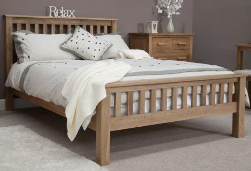 Nero solid oak bedroom furniture 5' king size bed with felt pads   eBay