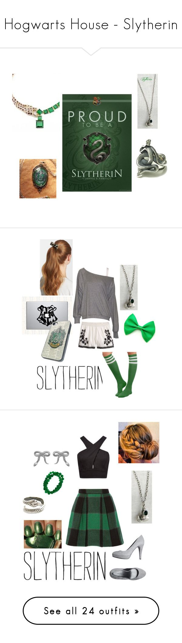 """""""Hogwarts House - Slytherin"""" by briony-jae ❤ liked on Polyvore featuring harry potter, slytherin, fillers, hogwarts, backgrounds, borders, effect, picture frame, J.Crew and LnA"""