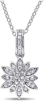 Laura Ashley White Sapphire Flower Pendant With Chain.