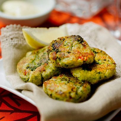 """Broccoli and chickpea bites:   Make these little numbers small and they are the perfect canapé. Make them medium sized and that's lunch or a meal for children (with or without the chili) or go larger again and have a meat free alternative to a burger.    """"This looks good! """"   -JH"""