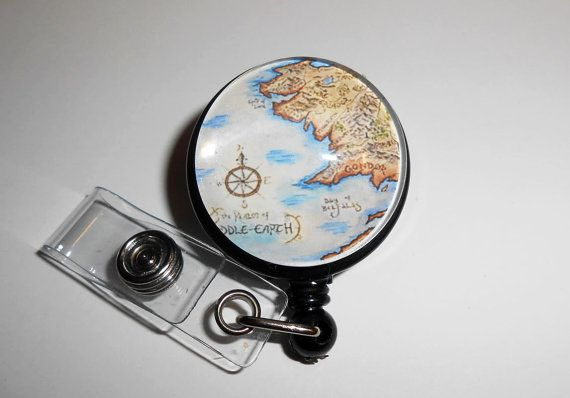 Middle Earth Hobbit Badge Reel, Retractable Lord of the Rings ID Badge Reel, Id Badge Holder, Id Reel Badge, Teacher Id Badge, IDR048