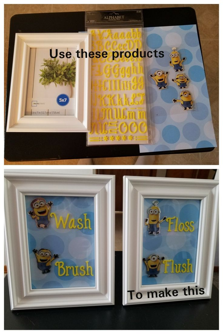 DIY Minion Bathroom Wall Art. This was super easy. I got the frame at Wal-Mart and everything else at hobby lobby. Then I just put it together. The best thing about doing your own wall art is that you can customize it the way you want it. Too cute!