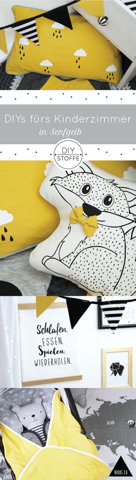 Zauberhaufte DIY-Näh Ideen fürs Kinderzimmer in Senfgelb - Anleitungen, Schnittmuster  & Plottermotive - Ebooks/Freebooks bei diy-stoffe.de
