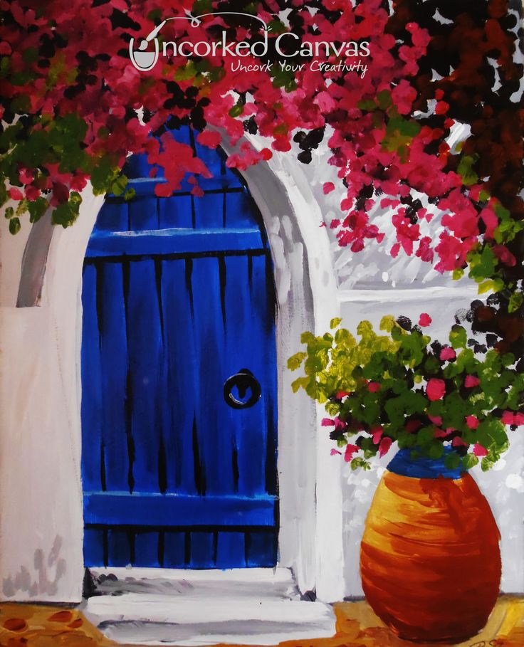Greek doorway from uncorked canvas tacoma 39 s premiere for Sip and paint