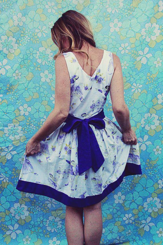 Vintage 1950 picnic tea dress frock Ladies women's by FudgieBudgie, $110.00