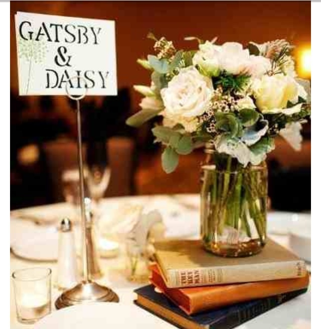Table names - literary couples:  Princess Buttercup and Wesley; Master and Margarita; Franny and Zooey; Gatsby and Daisy; Lolita and Humbert Humbert; Elizabeth Bennett and Mr. Darcy; Romeo and Juliet; Orpheus and Eurydice; Scarlett O'Hara and Rhett Butler; Sultan and Scheherazade; Bella Swan and Edward Cullen; Sherlock Holmes and John Watson; Charlotte and Wilbur; Pip and Estella; Tristan and Isolde; Sal Paradise and Dean Moriarty; Daenerys and Drogo; Jack and Wendy Torrance