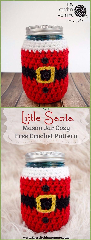 Crochet Little Santa Mason Jar Cozy Free Pattern - Crochet Christmas Mason Jar Cozy Free Patterns