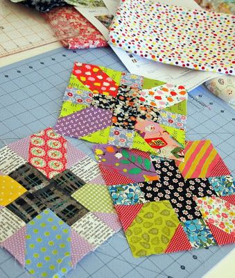 "great scrap blocks. My Granny kept scraps from all the dresses she made for us and made scrap blocks which eventually became quilt tops. I look at them and say, "" hey! there's my easter dress from when I was eight!"" And things like that. I love this idea."