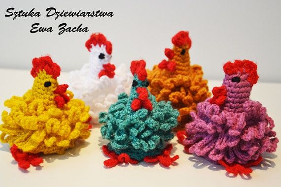 Three Crochet Easter egg decoration Set of 3 cozy por ilovemyyarn