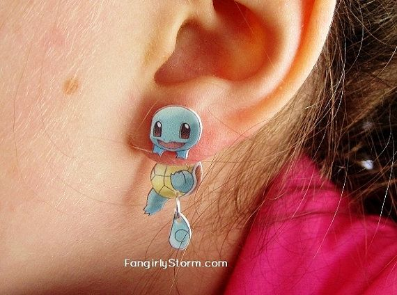 Squirtle Pokemon Clinging earrings Handmade kawaii geeky  gamer two part front and back post earrings on Etsy, $7.95
