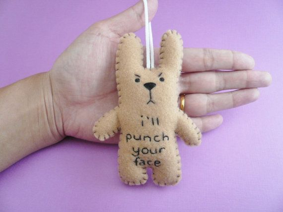 Funny ornaments I'll punch your face funny bunny by TheOffbeatBear, $18.00 kate