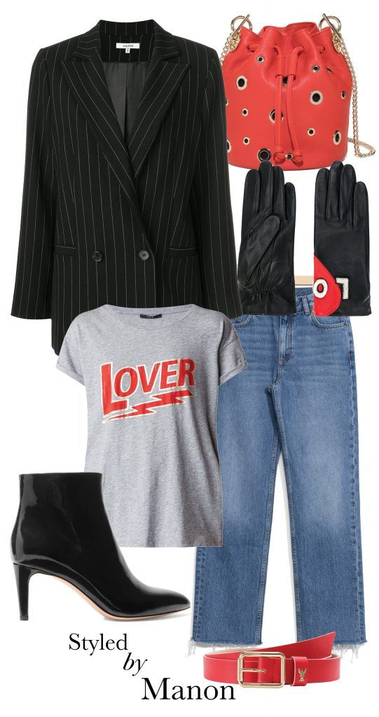 Lover t-shirt, red bucket bag, cropped jeans, oversized blazer, how to wear - Outfit Styled by Manon #whattowear
