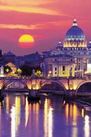 """Le coucher de soleil à """"Rome, #Italie"""