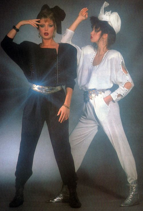 hi-tech-by-dina-american-vogue-october-1986 fashion style 80s new wave jumpsuits white black silver pants shoes heels