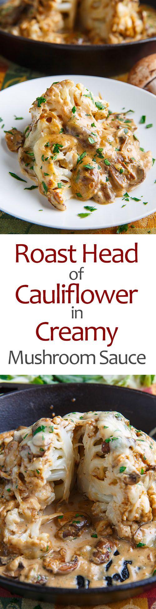 Vegan Roast Head of Cauliflower in Creamy Mushroom Sauce Recipe www.VeganFoodDaily.com